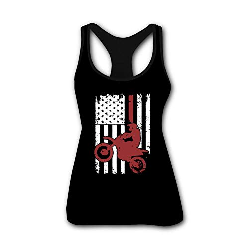 FUNNY NIKKI USA Flag Dirtbike Tank Top Women Workout Shirts Sleeveless Sexy Girls Vest Under S ()