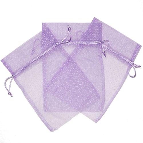 Cute Polka Dot Party Favor Gift Bags Organza Fabric Drawstring Bags (Purple Polka Dot, Small - 9 x 6)