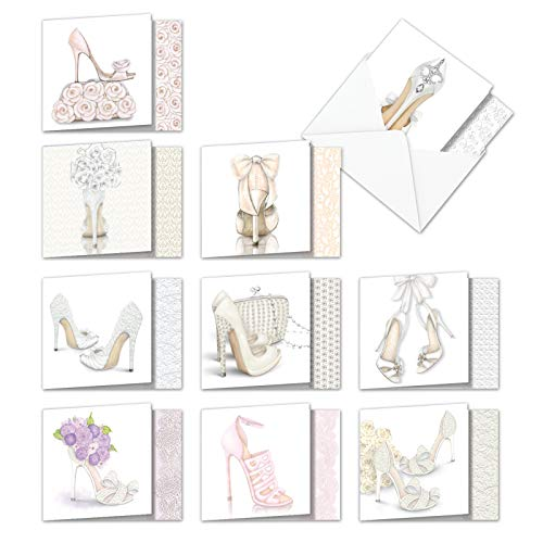 AMQ5052WYG-B1x10 Bride-itude with Gratitude: Set of 10 Wedding Thank You 'Square-Top' Notecards Featuring Images of Creative and Fun Designs for Wedding Shoes, with Envelopes
