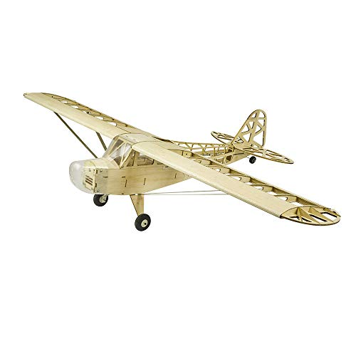 Upgrade Balsa Wood Airplane Kits Piper Cub J3, 47'' Laser Cutting RC Model Planes Kits to Build for Adults, DIY Electric 4CH Radio Controlled Airplane Aircraft that enjoy Hobby Flying (KIT only)