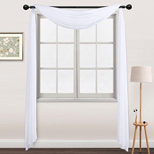 Solid Color Tulle Door Window Curtain Drape Panel Sheer Scarf Valance White - 2