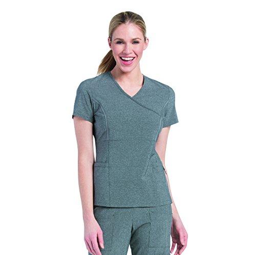 - Landau Lynx Women's Mock Wrap Fierce Tunic Solid Scrub Top XX-Large Heather Grey