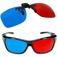 Homiki Lot de 2paires de lunettes 3D verre rouge et verre bleu, avec monture et avec clip