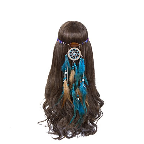 Hippies In The 70s (Dreamcatcher Feather Headband Hippie Headdress - AWAYTR New Retro Bohemian Indain Style Feather Headwear Native American Headband Fancy Headpieces (Light blue))