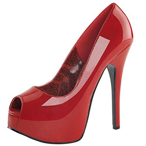 Heels-Perfect - Zapatos de vestir de material sintético para mujer rojo - Rot (Rot)