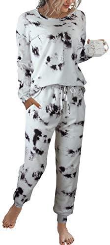 LOGENE Women's Tie Dye Pajamas Set Long Sleeve Sweatshirt and Long Pants Lounge Sets Sleepwear