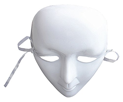 Maze Simple Plain White Plastic Mysterious Ghostly Full Face Mask For Dancers, 1- One Size ()