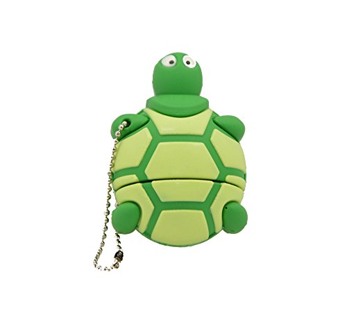 FEBNISCTE Cartoon Green Sea Turtle 16GB USB 2.0 Memory Stick 25 Retractable Pens