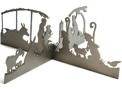 Modern Silhouette Nativity by Valerie Atkisson, Oiled Bronze by Valerie Atkisson