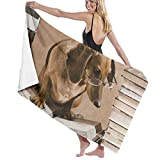 "Beach Bath Towel Wise Dachshund Dog Professor Book Personalized Custom Women Men Quick Dry Lightweight Beach & Bath Blanket Great for Beach Trips, Pool, Swimming and Camping 31""x51"""