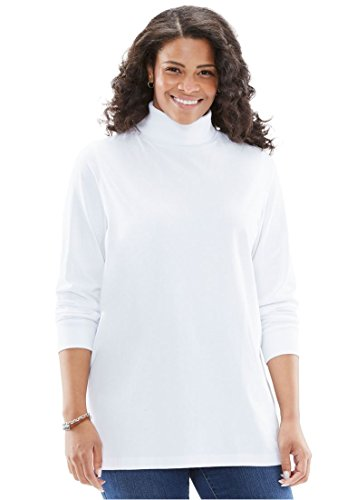 Women's Plus Size Perfect Cotton Turtleneck White,2X