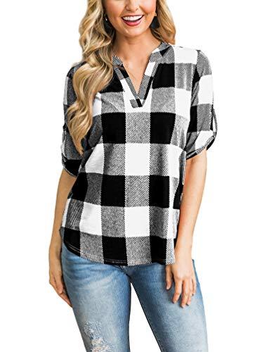 (LACOZY Womens Casual V Neck T Shirts Loose fit Short Sleeve Plaid Tunic Shirt Tops Blouse White Black Black Small (4/6))