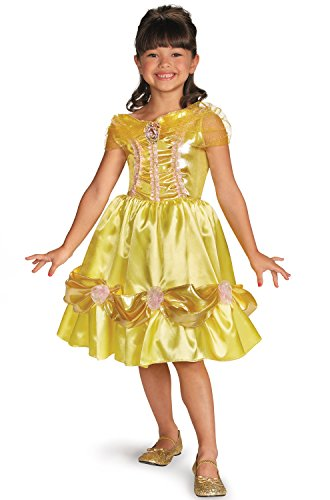 [Disguise Disney Beauty and The Beast Belle Sparkle Classic Girls Costume, 3T-4T] (Beauty And The Beast Costume Belle)