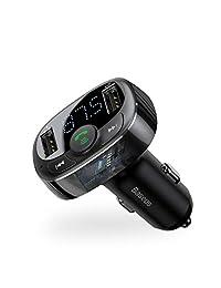 Baseus [Versión mejorada] Transmisor FM Bluetooth para automóvil, adaptador inalámbrico de transmisor de radio FM Adaptador para automóvil, puertos de carga USB dobles, llamada manos libres, disco U, reproductor de música MP3 con tarjeta TF