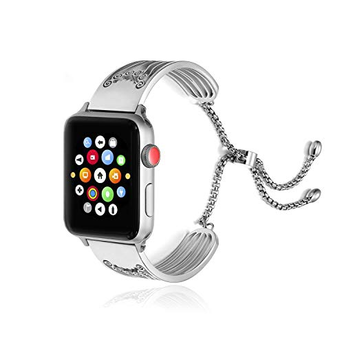 Design Swirl Band - AsiaFly Compatible with Apple Watch Band 38mm 40mm, Adjustable Stainless Steel Jewelry Hollow Hoop Swirls Bracelet Bangle Strap Cuff Band Replacement for Apple Watch Series 4/3/2/1 - Silver