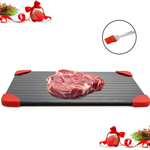 Pine Kitchen Co Defrosting Tray - LARGEST SIZE magic defrosting tray for frozen foods and Quick Meat thawing plate. UPGRADED VERSION : Defrost-melting tray, no electricity rapid thaw defrosting tray ()