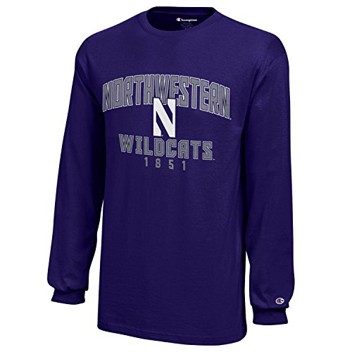 Champion NCAA Northwestern Wildcats Youth Boys Long sleeve Jersey T-Shirt, Medium, Purple