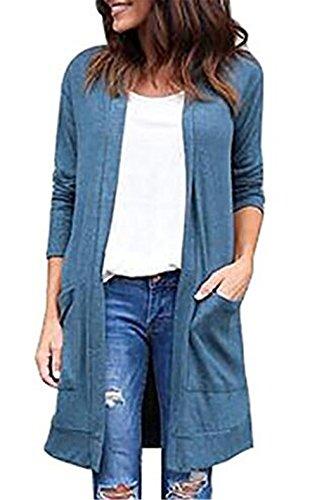 SÓLido Azul Chaquetas Elegantes Manga Con Tops Largo BESTHOO Sencillos Bolsillo Cardigan Mujer Coat Abrigos Color Abrigos Larga Delgada Outwear RqnAwUYv