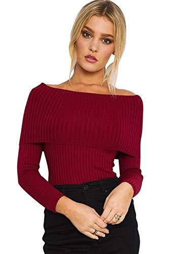 Off Tricot Top Femme Carmen lgant Mode Slim Longsleeve Manche Tricot Jeune Blouse Tops Uni Fit Chic Automne Hiver Shoulder Haut Vetements Winered Yd4dx6O
