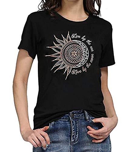 by The Moon T Shirt Summer Short Sleeve Funny Graphic Tees Tops (Black, M) ()