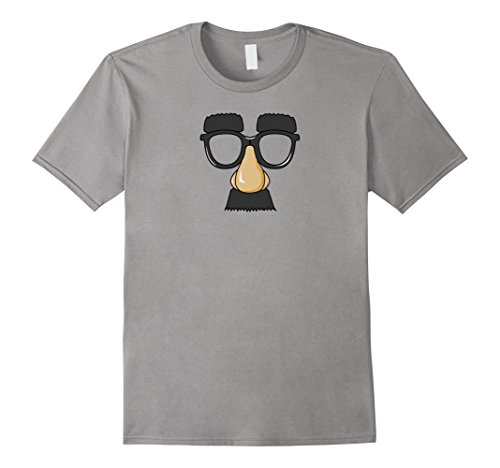 Mens Fake Moustache and Glasses Disguise T Shirt Cool Design 2XL Slate (Quality Fake Moustache)