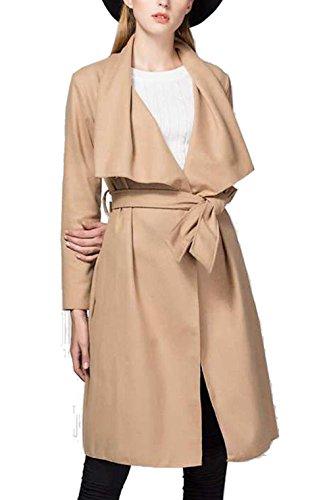 Cnlinkco Women Long Sleeve Trench Coat Casual Wrap Belted Turn Down Collar Coat (S, Khaki)