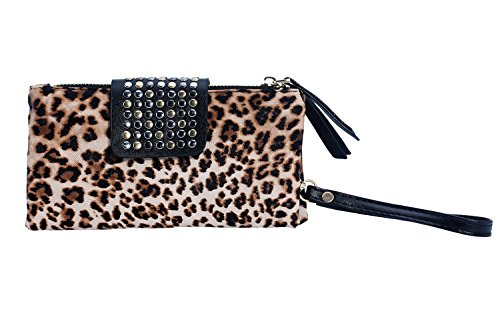 Leegoal(TM) Women Punk PU Leather Bling Rivet Evening Party Fashion Clutch Bags Purse Wallet Handbag, Leopard Print