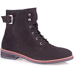 Baldi Women's Lalita F Black Mid Calf High Top Lace up Boots With Buckle Zip (EU 38 / US 7.5, Black)