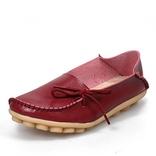 SUNROLAN Flat Wine Womens Lace Loafers up Red Cowhide On Driving Casual Shoes Slipper Leather Slip rrvCq