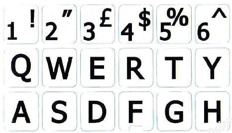 maiuscole Tastiera Nero con Lettere Bianco Adatti a Qualsiasi Tastiera Qwerty Keys Inglese UK Adesivi Grandi Lettere