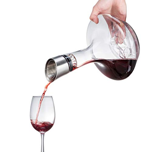 YouYah Wine Decanter Set with Aerator Filter,Drying Stand and Cleaning Beads- 100% Hand Blown Lead-free Crystal Glass, Red Wine Carafe, Wine Aerator(NewPacking)