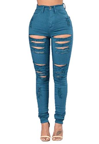 Bleu Crayon YiLianDa Femmes Leggings Skinny Taille Casual Elastique Haute Stretch Dchir Pantalon Trou 4xF7Sxqw