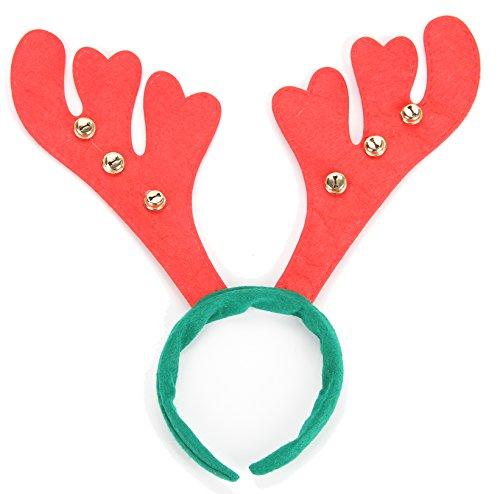 Cute Reindeer Antlers Headband Hair Accessory Headwear For Christmas, Halloween, Holiday, Party Headband,Green & Red