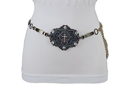 TFJ Women Western Concho Fashion Belt Hip Waist Gold Metal Bling Cross Buckle XS S (Silver Bling Belt Buckle)