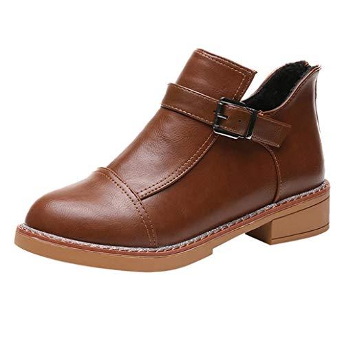 2018 Grande Calzado Otoño PAOLIAN Aguja Martin Botines de Botines Cuero Botas Casual Plataforma Altas Mujer Zapatos cuña Piel Tacón Señora clásicas Invierno para Dama Tacón Moda de Talla Marrón 1qx8wp