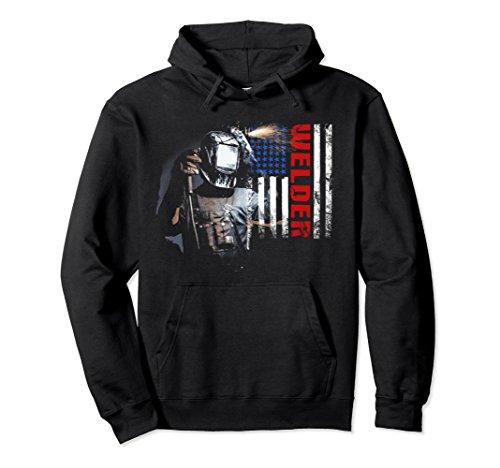 Unisex American Welder - Proud Welding Hoodie Welder American Flag Small (Welder Adult Sweatshirt)