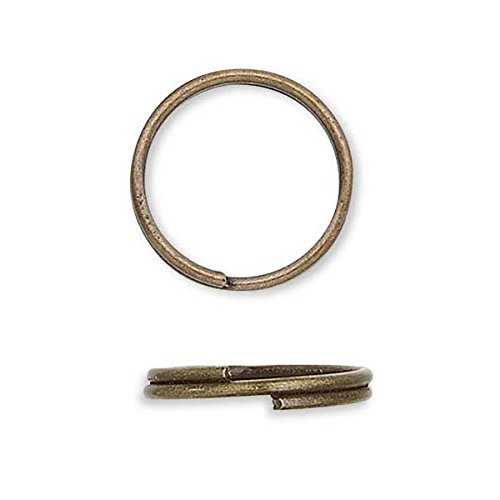 (100 Plated Steel 8mm Round Double Loop Split Ring Jewelry Findings (Antique Bronze))