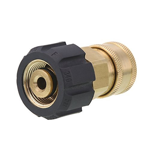 "Hose Socket - Tool Daily Quick Connect Socket for Pressure Washer Gun and Hose, 3/8"" Socket to M22 14mm Metric Swivel, 5000 PSI"