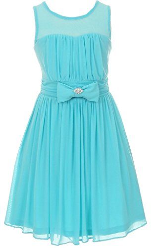 Aqua Blue Crystal Flower (Big Girls' Darling Sweetheart Chiffon Gown Bow Crystal Flowers Girls Dresses Aqua Size 8)