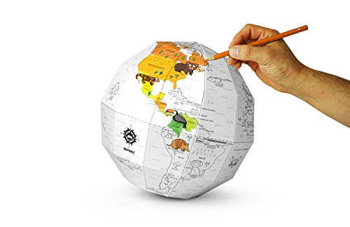 DIY Scratch Assemble Globe Coloring World Map (Coloring(Animal)) (Animals Of The World Map)