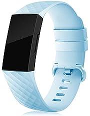IFREE riem compatibel voor Fitbit Charge 3 / opladen 4 banden, voor vrouwen mannen verstelbare siliconen sport horloge banden (geen tracker) S/L