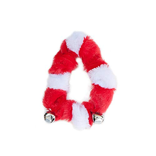 ZippyPaws - Cute Holiday Dog Collar with Jingle Bells Festive Christmas Accessory, Red and White - Medium ()