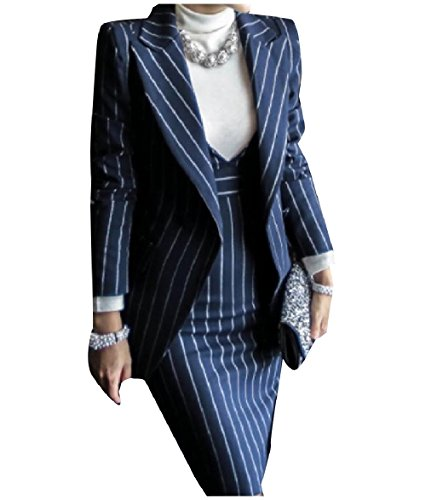 (Zimaes-Women Slim Fit Pinstripe Blazer and Bodycon Dress Suit Sets Dark Blue L)