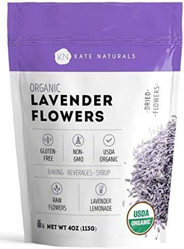 Organic Lavender Flowers - Kate Naturals. Premium Grade. Dried. Perfect for Tea, Lemonade, Baking, Baths. Fresh Fragrance. Large Resealable Bag. Gluten-Free, Non-GMO. (4 oz (Starter Size))