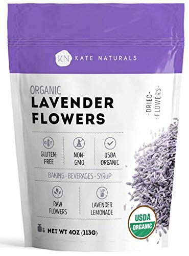 Organic Lavender Flowers - Kate Naturals. Premium Culinary Food Grade. Dried. Perfect for Tea, Lemonade, Baking, Baths. Fresh Fragrance. Large Resealable Bag. Gluten-Free, Non-GMO.