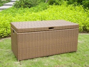 Jeco Wicker Patio Storage Deck Box in Honey (Room Honey Living Wicker Furniture)