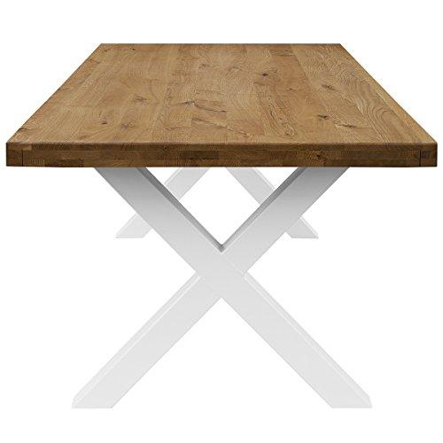 COMIFORT Mesa de Comedor - Mueble para Salon Oficina Despacho Robusto y Moderno de Roble Macizo Color Ahumado, Patas de Acero X-Forma Blancas (180x100 cm)