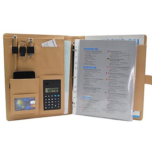 gigibon business leather padfolio zippered resume portfolio letter