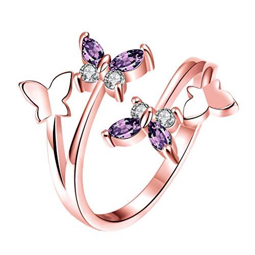Fenical Anillos Abiertos Mariposa Elegante Anillos de Dedo Abiertos Anillo de Oro Rosa de 18 k Anillo de Compromiso de...