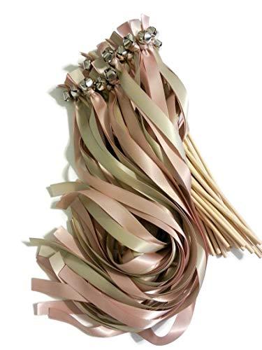 (100 Wedding Wands in Ballet & Biscotti Silver bells #DivinityBraid #SendOffBells #WeddingWands #Wedding #Favors #CeremonySendOff #Party #KissingBells #RibbonWands)